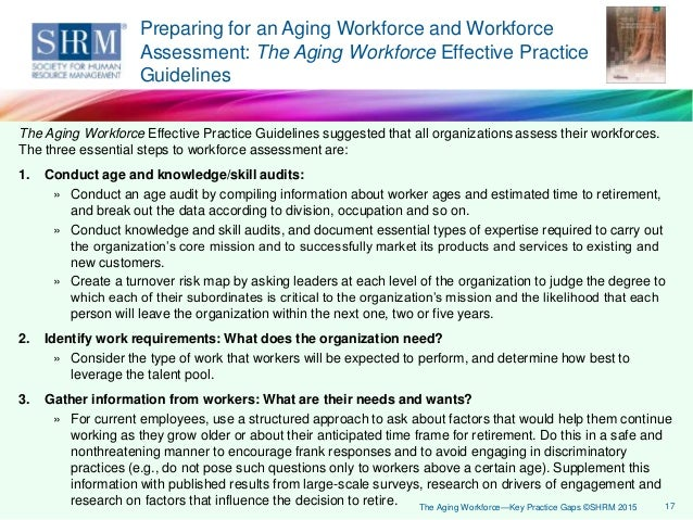 """research about aging workforce This approach was used in developing a synthesizing report based on seven  large case studies from the project, """"issues of an aging workforce"""" five  canadian."""