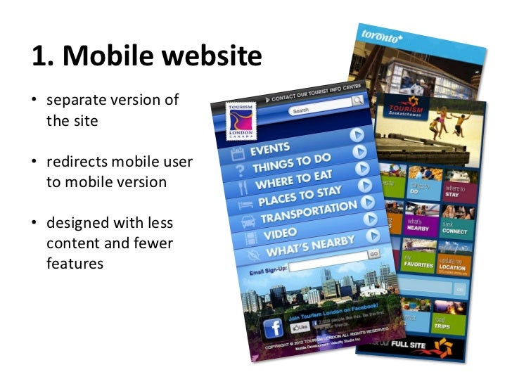 2. Plug-in - WPtouch• WordPress plugin with  mobile-dedicated  themes• redirects mobile user  to the plug-in  generated mo...