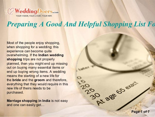 Preparing a good and helpful shopping list for an indian wedding