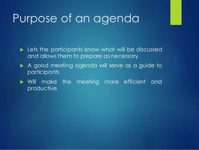 Preparing an effective agenda – Preparing Meeting Agenda