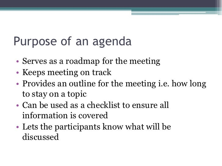 Preparing An Effective Agenda