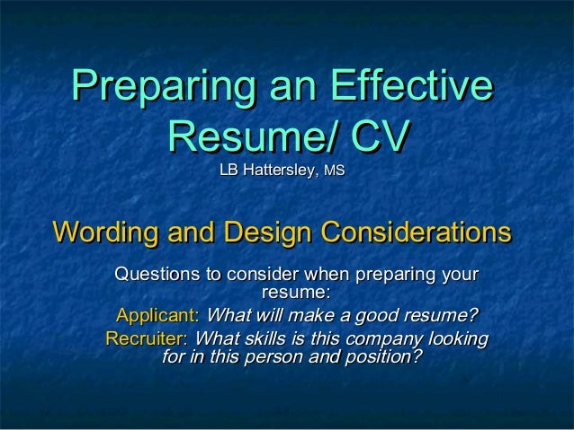 how to prepare an effective resumes
