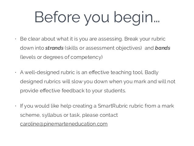 Before you begin… • Be clear about what it is you are assessing. Break your rubric down into strands (skills or assessment...