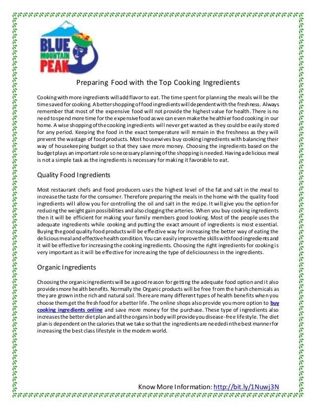 Know More Information: http://bit.ly/1Nuwj3N Preparing Food with the Top Cooking Ingredients Cookingwithmore ingredientswi...