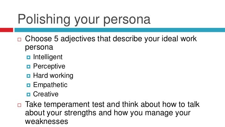 28. Polishing Your Persona Choose 5 Adjectives That Describe ...
