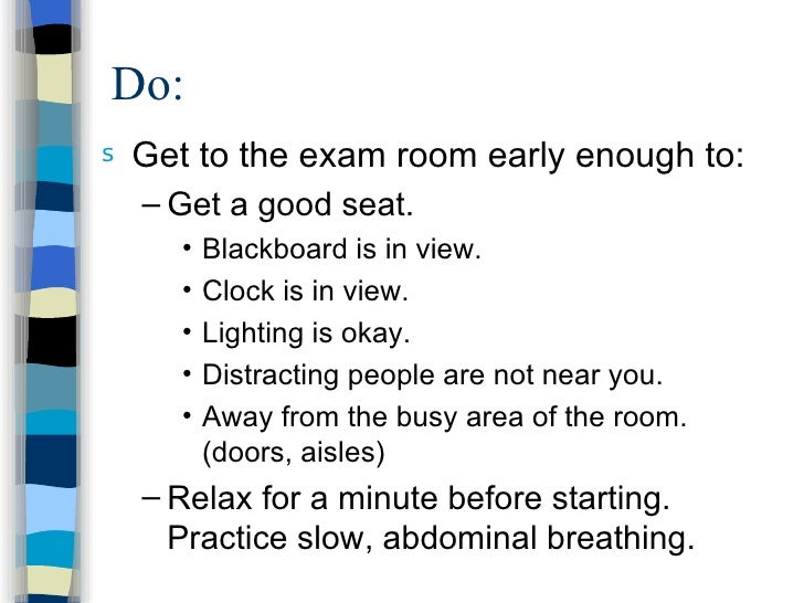 How to make yourself relax before an exam