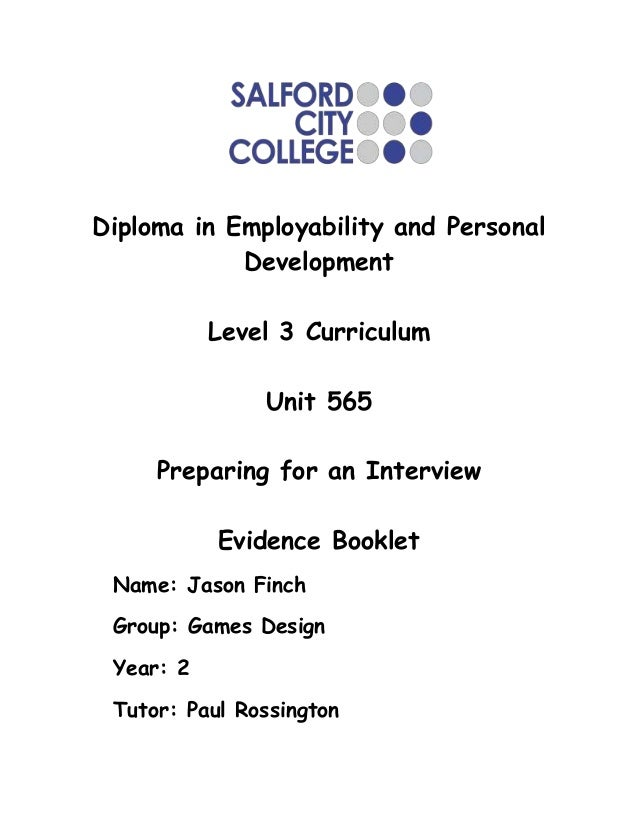 Diploma in Employability and Personal            Development           Level 3 Curriculum               Unit 565     Prepa...