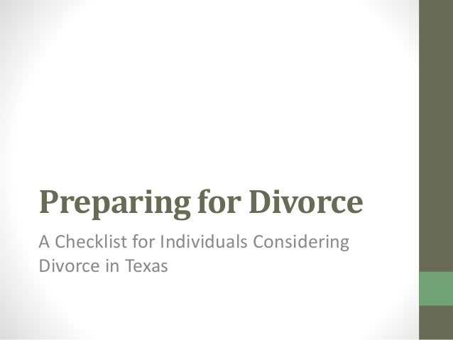 Preparing for divorce in texas preparing for divorce a checklist for individuals considering divorce in texas solutioingenieria Image collections