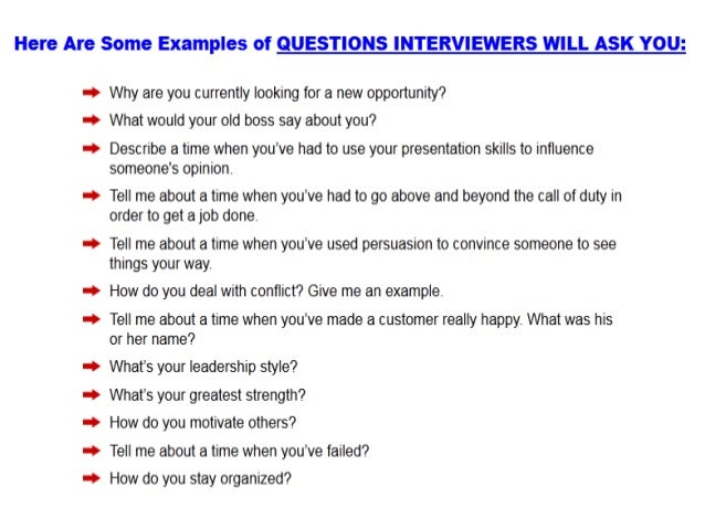 sample q and a for job interview