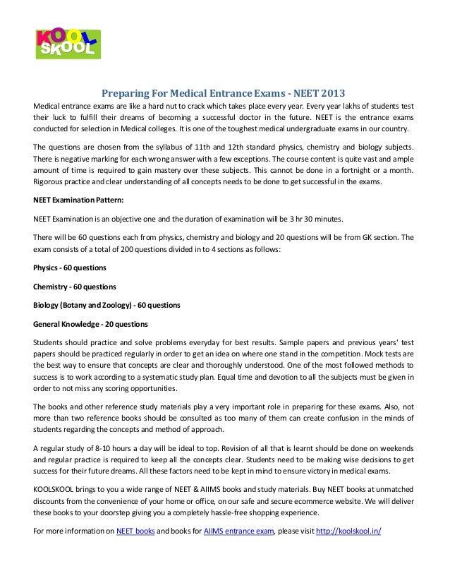 Preparing for medical entrance exams neet 2013