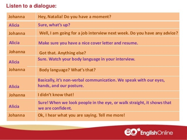 Preparing for the job interview body language