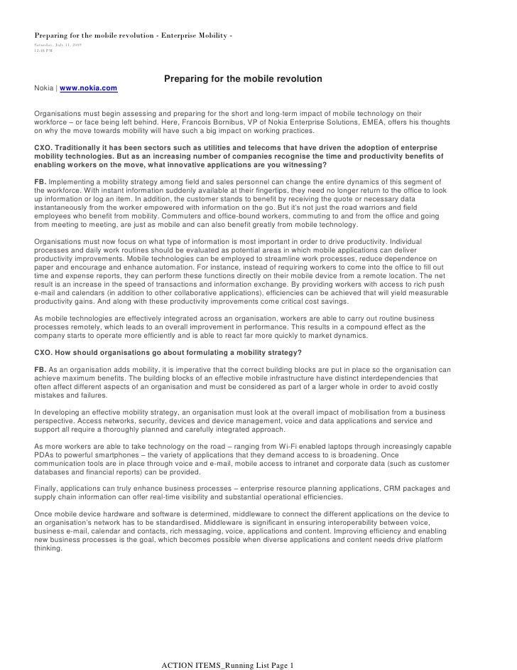 Preparing for the mobile revolution - Enterprise Mobility -Saturday, July 11, 200912:48 PM                                ...