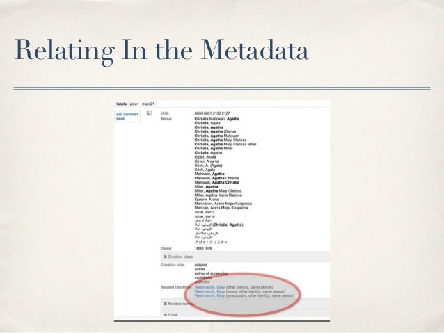 Relating In the Metadata