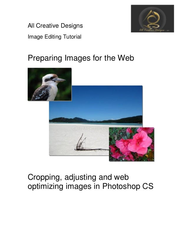 All Creative Designs Image Editing Tutorial Preparing Images for the Web Cropping, adjusting and web optimizing images in ...