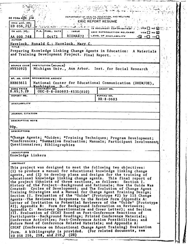 DEPARTMENT OF HEALTH, EDUCATION, AND WELFARE _OFFICE OF EDUCATION_ r ERIC ACC. NO;, ED 056-257 FIG REPQRT RESUME 15 DOCUME...