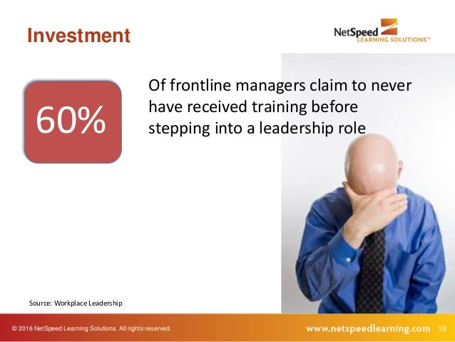© 2016 NetSpeed Learning Solutions. All rights reserved. 10 Investment 60% Of frontline managers claim to never have recei...