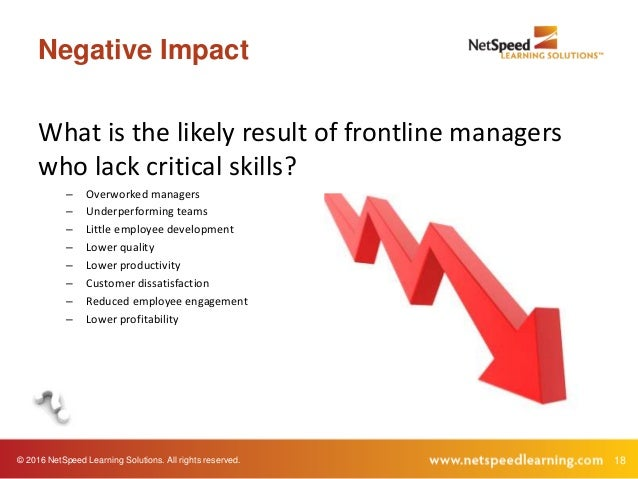 © 2016 NetSpeed Learning Solutions. All rights reserved. 18 Negative Impact What is the likely result of frontline manager...