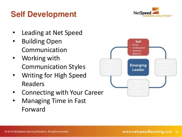 © 2016 NetSpeed Learning Solutions. All rights reserved. 32 Self Development • Leading at Net Speed • Building Open Commun...