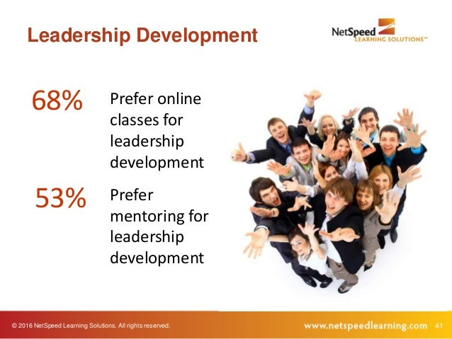 © 2016 NetSpeed Learning Solutions. All rights reserved. 41 Leadership Development 68% 53% Prefer online classes for leade...