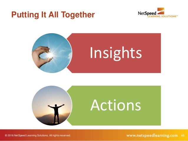 © 2016 NetSpeed Learning Solutions. All rights reserved. 46 Putting It All Together Insights Actions