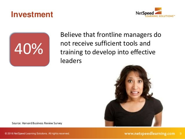© 2016 NetSpeed Learning Solutions. All rights reserved. 9 Investment 40% Believe that frontline managers do not receive s...