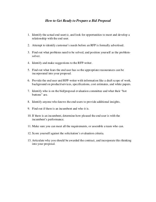 Bid Proposals Preparing Proposals Checklists Free Proposal Template