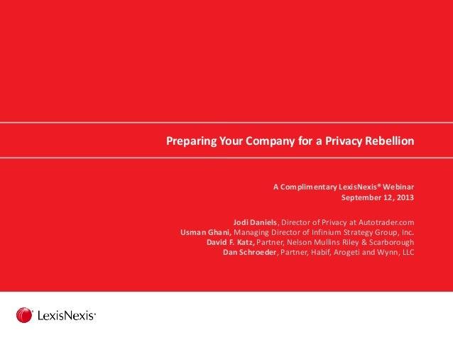 Preparing Your Company for a Privacy Rebellion A Complimentary LexisNexis® Webinar September 12, 2013 Jodi Daniels, Direct...