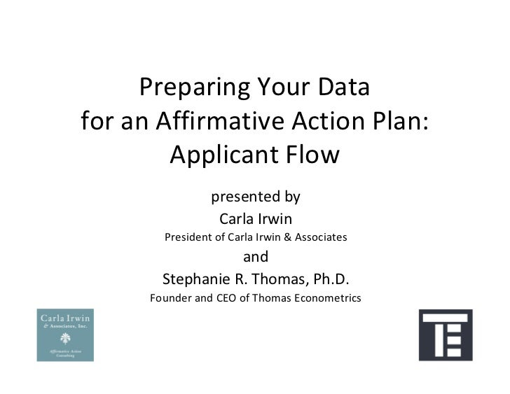 Preparing Your Datafor an Affirmative Action Plan:        Applicant Flow                 presented by                  Car...