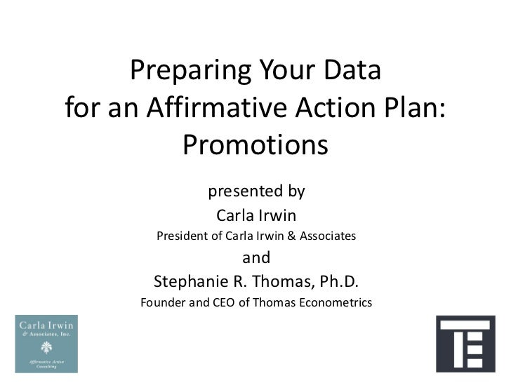 Preparing Your Data for an Affirmative Action Plan: Promotions