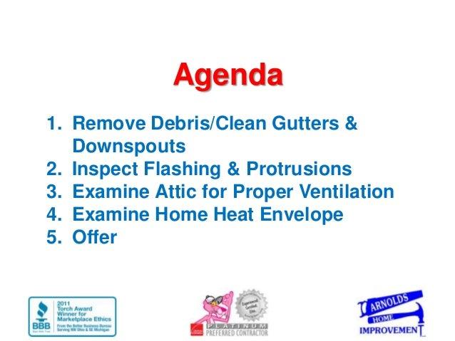 Agenda1. Remove Debris/Clean Gutters &   Downspouts2. Inspect Flashing & Protrusions3. Examine Attic for Proper Ventilatio...