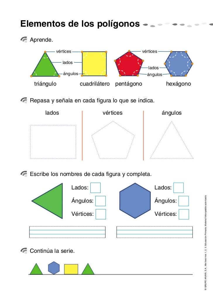 Elementos de los polígonos  Aprende.             vértices                           vértices                lados         ...