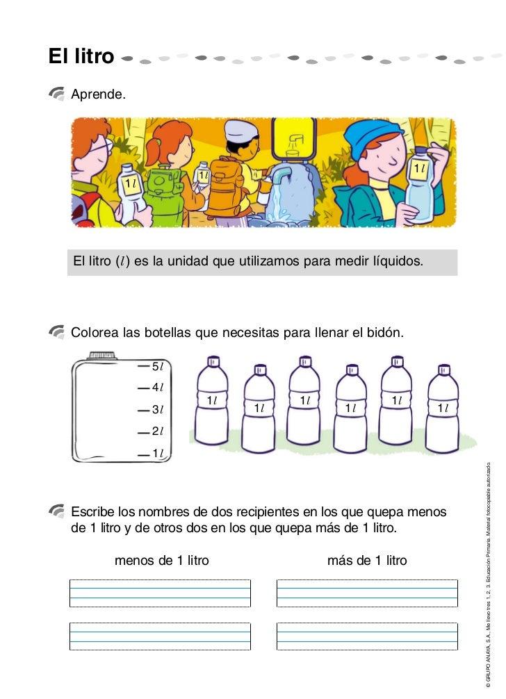 El litro  Aprende.                                                                 1l                         1l          ...