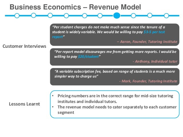 "Business Economics – Revenue Model                      ""Per student charges do not make much sense since the tenure of a ..."
