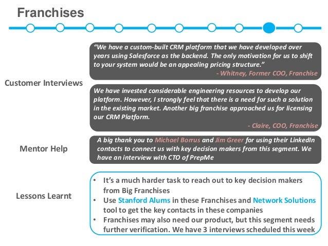 "Franchises                      ""We have a custom-built CRM platform that we have developed over                      year..."