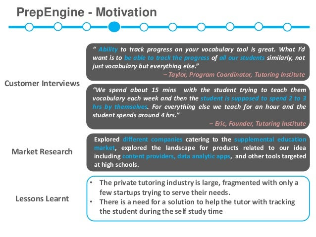 """PrepEngine - Motivation                      """" Ability to track progress on your vocabulary tool is great. What I'd       ..."""