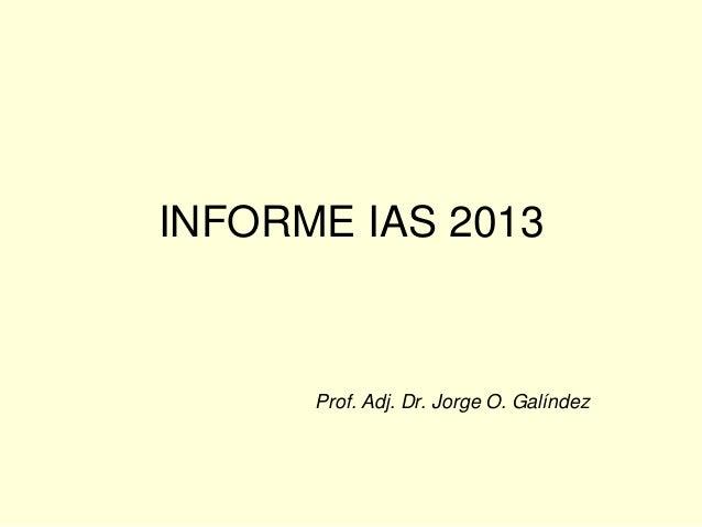 INFORME IAS 2013 Prof. Adj. Dr. Jorge O. Galíndez