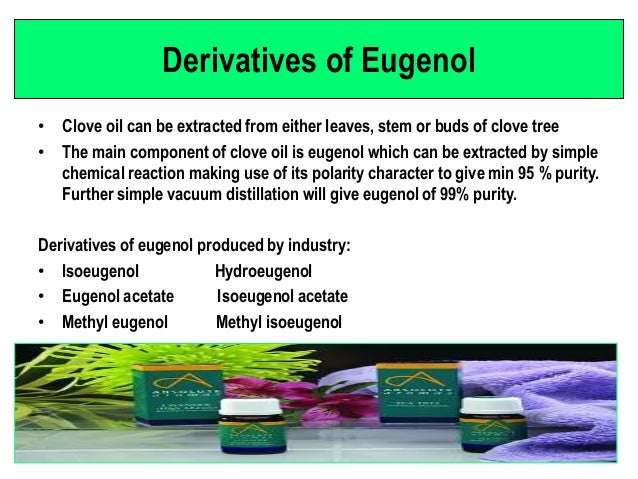 extraction of eugenol from cloves by steam distillation Extraction of eugenol from cloves eugenol was isolated from a sample of cloves using a series of techniques including steam distillation, solvent extraction.