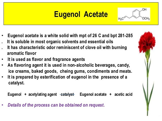 the isolation of eugenol and acetyl eugenol from cloves Isolation of oil of clove and separation of eugenol and acetyl eugenol an  instructive experiment for beginning chemistry undergraduates.