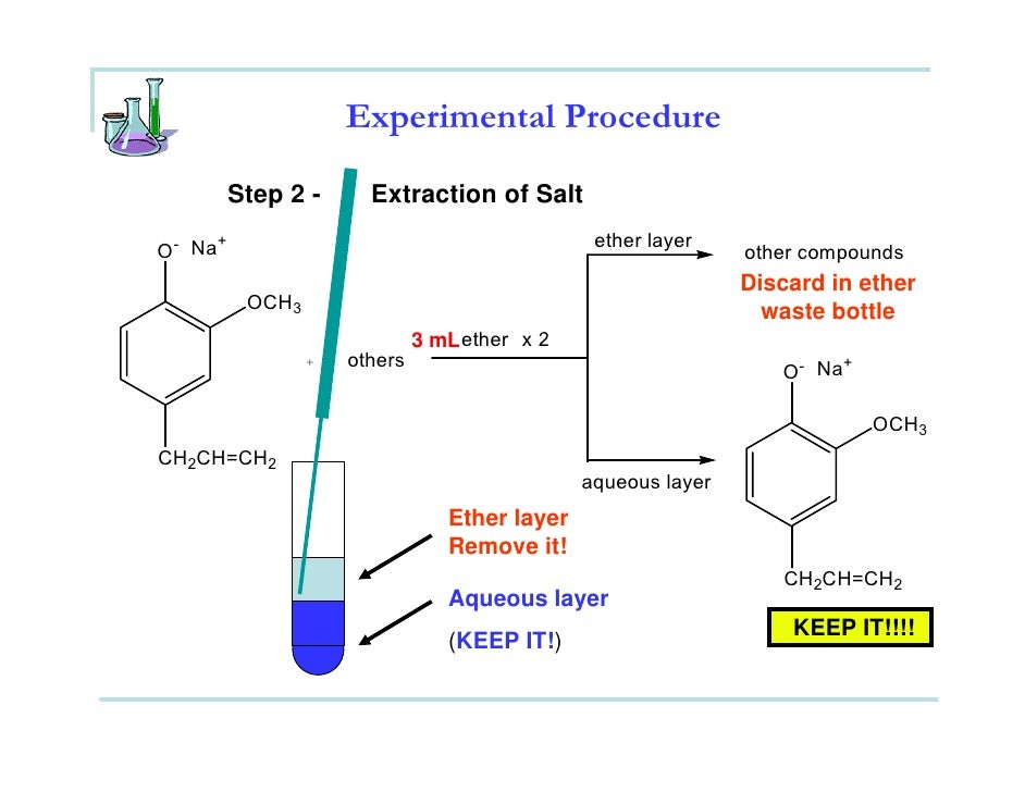 extraction of eugenol from cloves oil 1 extraction of eugenol from cloves in this experiment, you will extract the essential oil of cloves, which is mostly eugenol the procedure used is typical for isolating products from.