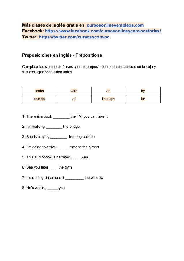 Más clases de inglés gratis en: cursosonlineyempleos.com Facebook: https://www.facebook.com/cursosonlineyconvocatorias/ ...