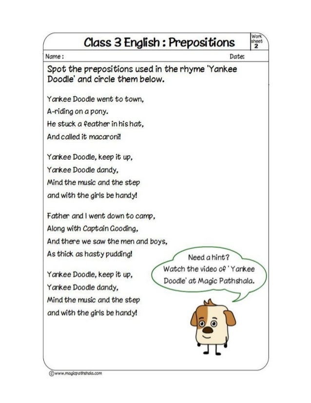 Prepositions - PDF Worksheets - English Vocabulary and Grammar