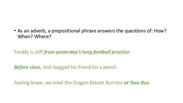 Prepositional Phrases – Prepositional Phrase Worksheet