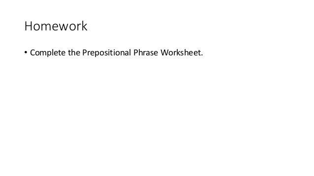 Prepositional Phrases – Prepositional Phrases Worksheet