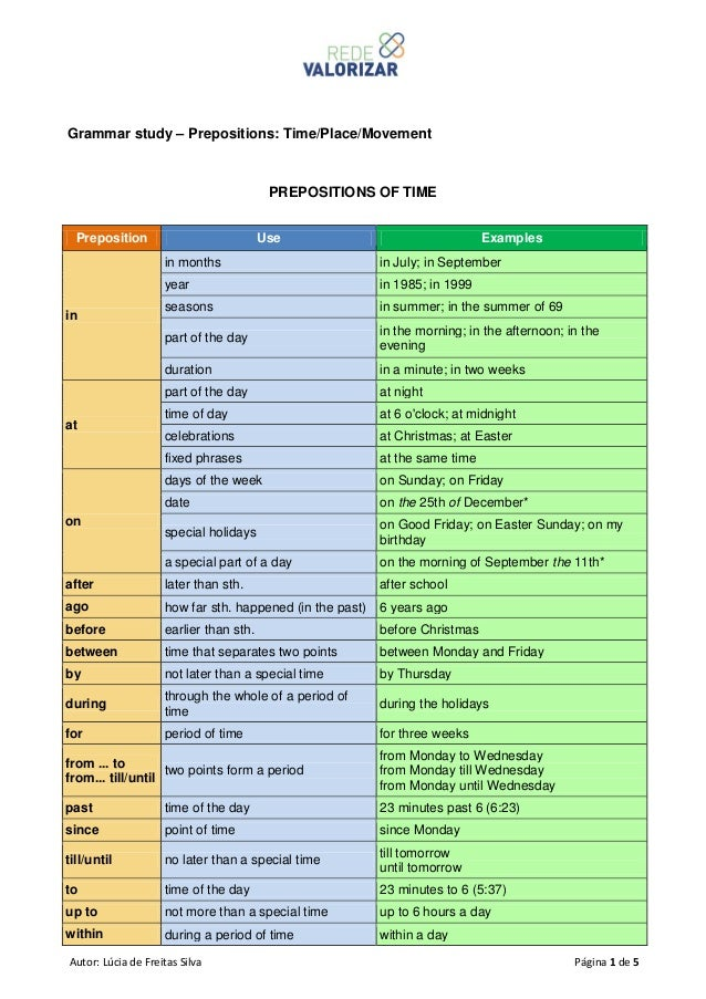 Prepositions time place and movement – Prepositions of Time Worksheet