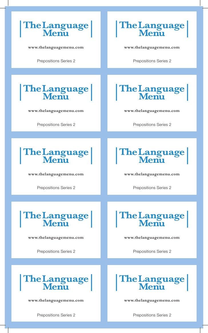 www.thelanguagemenu.com    www.thelanguagemenu.com   Prepositions Series 2      Prepositions Series 2www.thelanguagemenu.c...