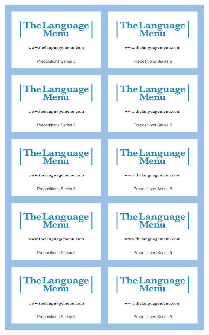 www.thelanguagemenu.com    www.thelanguagemenu.com   Prepositions Series 5      Prepositions Series 5www.thelanguagemenu.c...
