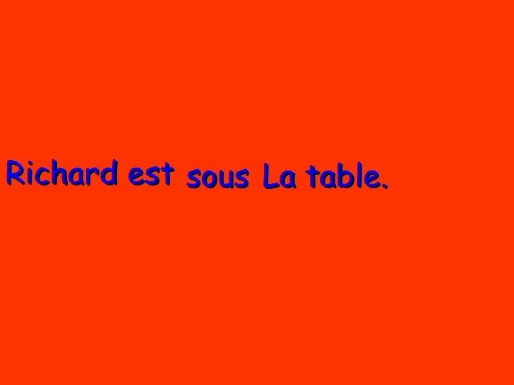 Richard est  La table. sous