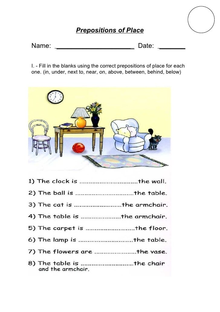 Prepositions of place i – Prepositions of Place Worksheet
