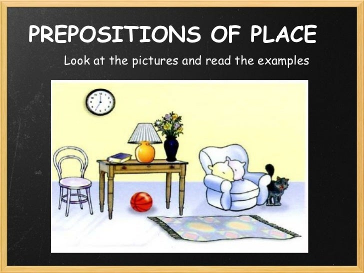 PREPOSITIONS OF PLACE  Look at the pictures and read the examples