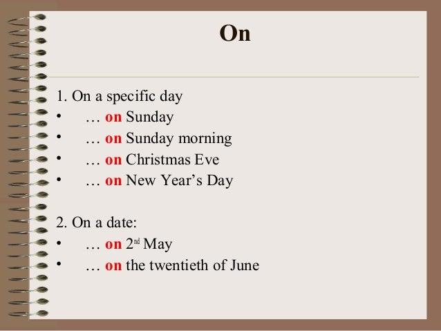prepositions week day names and time English vocabulary lessons online learn the vocabulary related to months, days, time of the day.
